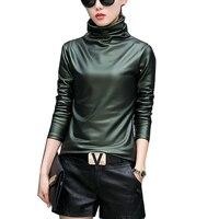 Harajuku Women T Shirt Sexy Long Sleeve Turtleneck Velvet T Shirt Female Tops Plus Size 4XL