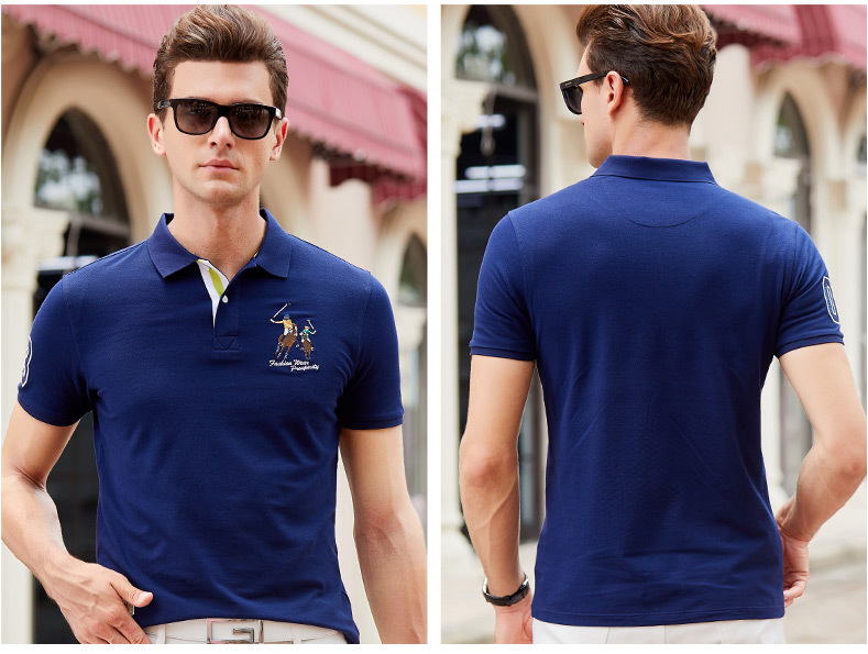 Fashion Summer Short Sleeve Solid Polo Shirt Men Cotton Print Slim Casual Polos Breathable Embroidery  Shirt Mens ClothingYP9099 20