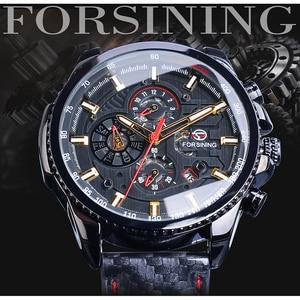 Image 2 - Часы наручные Forsining Мужские автоматические, спортивные блестящие механические с кожаным ремешком, 3 циферблата, дата день