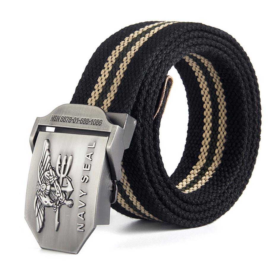 2018 Hot Male Tactical Belt Top Quality 3.8 cm Wide Canvas Belt For Men Navy Seal Automatic Buckle Man 120Cm Belts