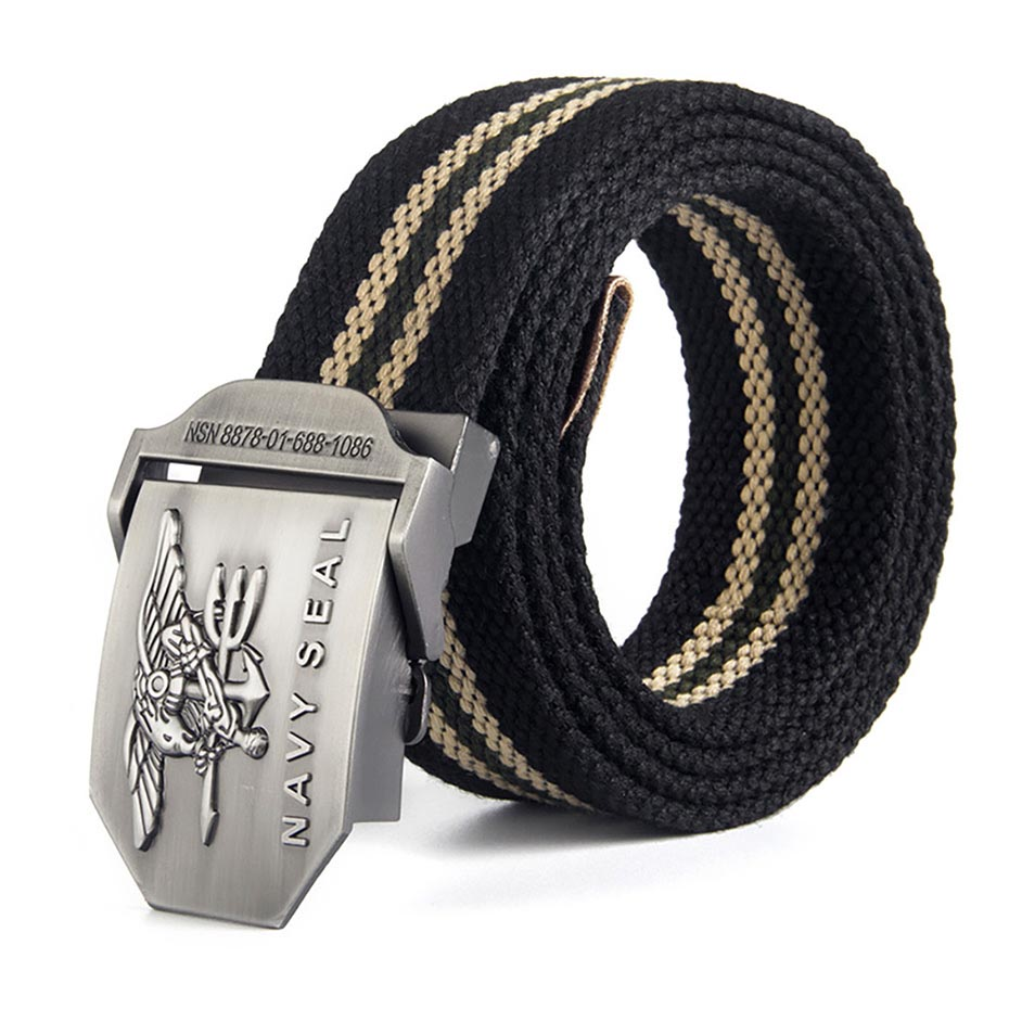 2018 Hot Male Tactical   Belt   Top Quality 3.8 cm Wide Canvas   Belt   For Men Navy Seal Automatic Buckle Man 120Cm   Belts