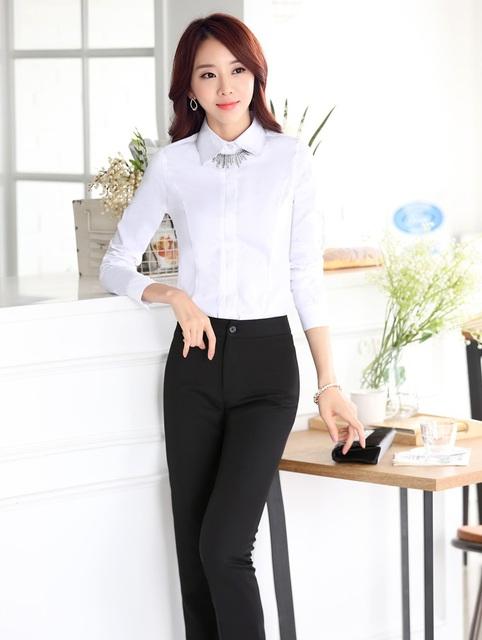 Mulheres Terninhos Tops E Calças de Negócios Formal Estilo Uniforme Escritório Ternos Com Calças Outfits Blusas Feminino Conjunto Desgaste do Trabalho