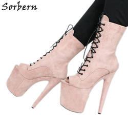 Sorbern бледно розовый открытый носок ботильоны для женщин 20 см экстремально высокие каблуки короткие женские пинетки плюс Размеры платформы