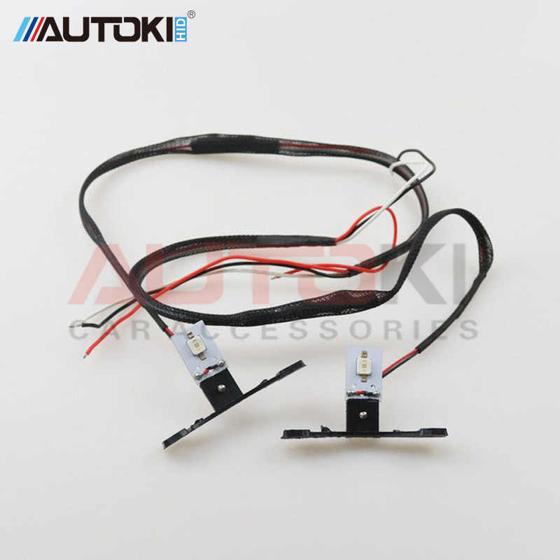 Autoki Car LED DRL Devil Eyes Motorcycle Demon Evil Eyes 2.5 Headlights Mini Projector Lens H1 w/ Turn-off Controller Wires DIY