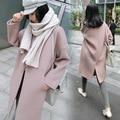 Зимнее Пальто Девушки Длинные Свободные Розовый Верблюжьей Шерсти Шерстяные Корея