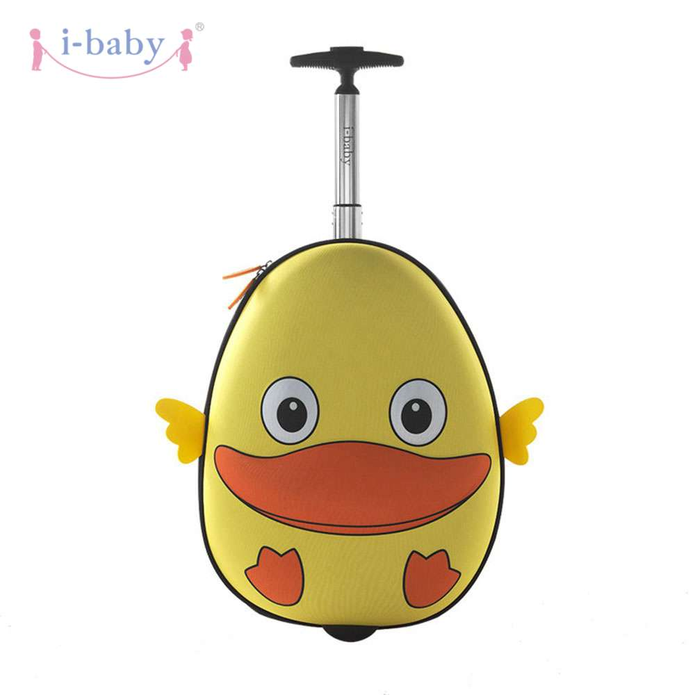 i-baby 3D Animal Design Kids Rolling Luggage Toddler Travel Case Cartoon Boarding Carry on Suitcases, Duck, 2 Colors