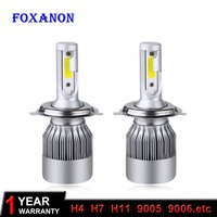 Foxanon Car Headlight H7 H4 LED H8 H11 HB3 9005 HB4 9006 H1 H3 9012 H13