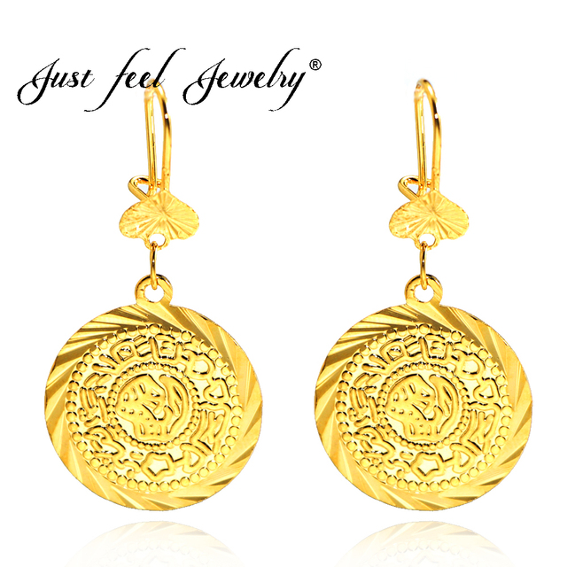 Just Feel Muslim Ancient Coins Copper Earrings Gold Color Arab Money Sign Middle