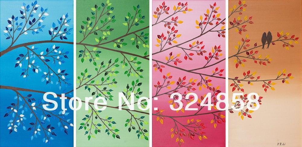 Handmade Painting Artwork Love Birds Tree Landscape Oil Painting On ...