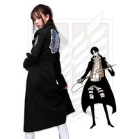Anime Cosplay Attacking Giants Levi Rivaille Jacket Cloak Adult Halloween Carnival Cosplay Costume Attack on Titan Black Cloak