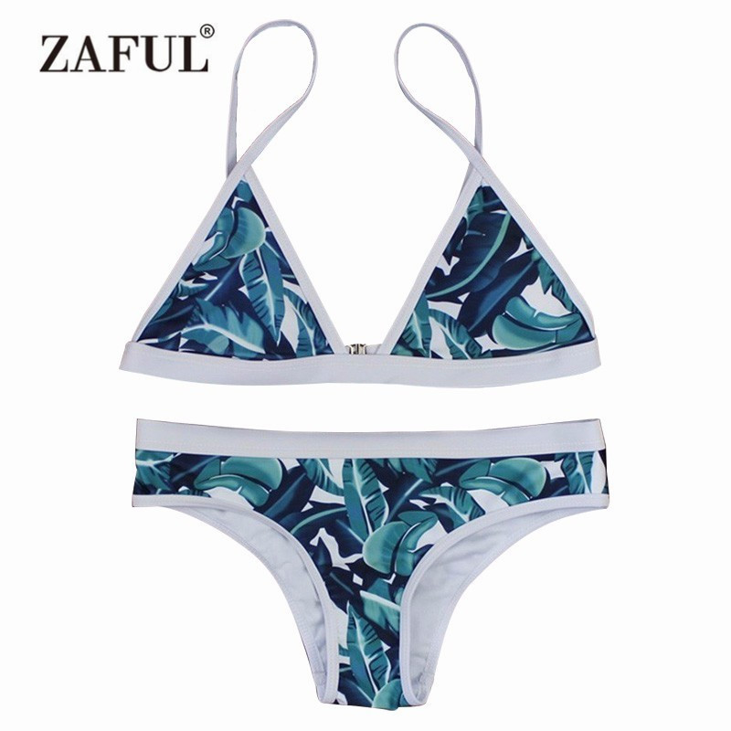 Zaful Women Sexy Push Up Bikini Set Leaf Print Swimwear Brazilian Swimsuit High-Cut Bathing Suit Beachwear maillot de bain ruuhee swimwear women bikini 2017 swimsuit bathing suit brazilian beachwear push up bikini set maillot de bain biquini swim wear