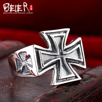 Beier 925 Silver Sterling Jewelry 2015 Fashion Super Big Cross Design Man Ring High Quality D1080