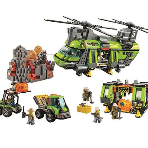 Bela 10642 City Series Volcano Heavy-lift Helicopter Explorer scientist Building Block Compatible Legoe Volcano 60125 Toys volcano