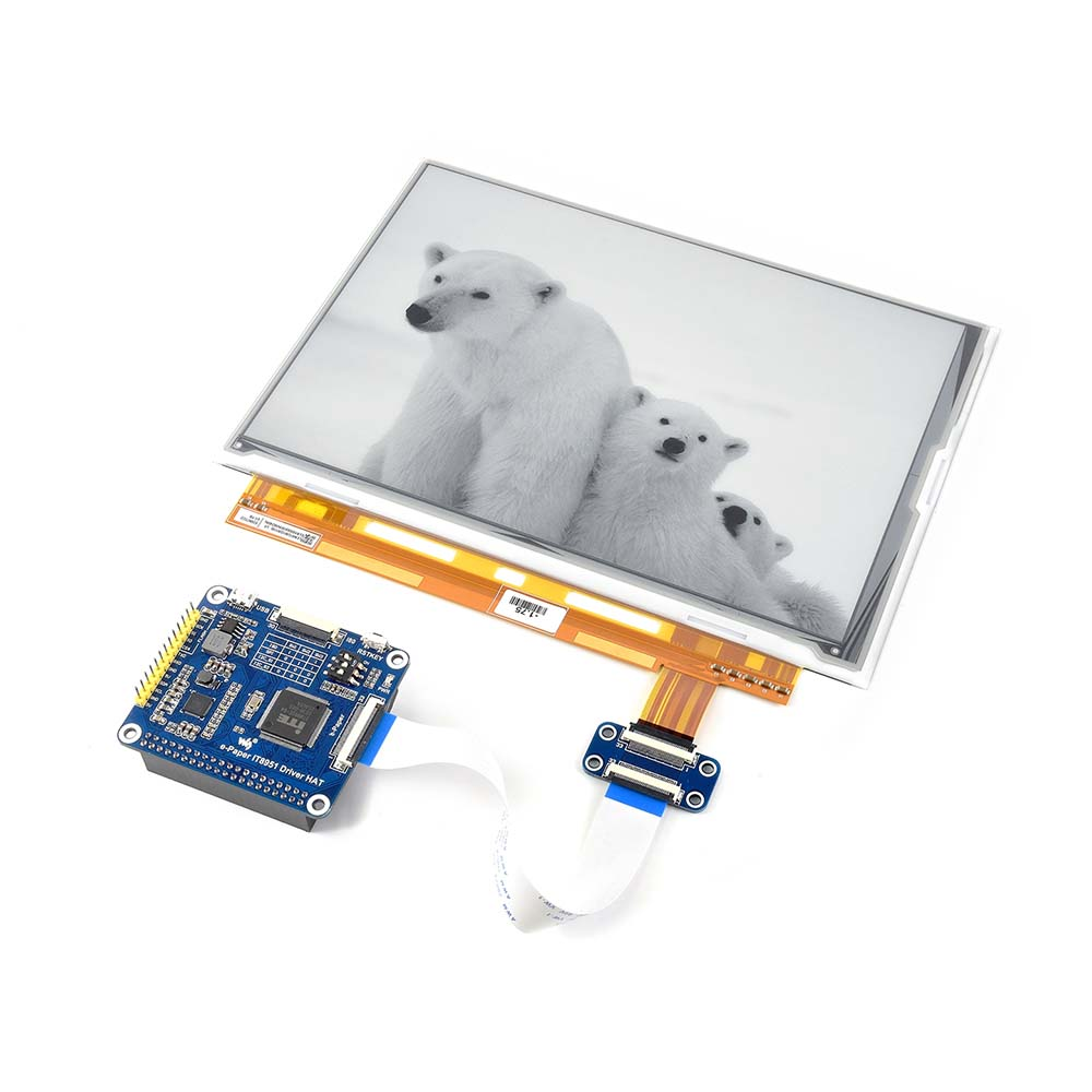 1200*825, 9.7 pouces E-ink affichage CHAPEAU pour Raspberry Pi, IT8951 contrôleur, USB/SPI/I80/I2C interface ..