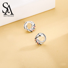 цена SA SILVERAGE 925 Sterling Silver Europa Stud Earrings For Women Fine Jewelry 2019 New Arrivals Fine Women Classic Jewelry S925 онлайн в 2017 году