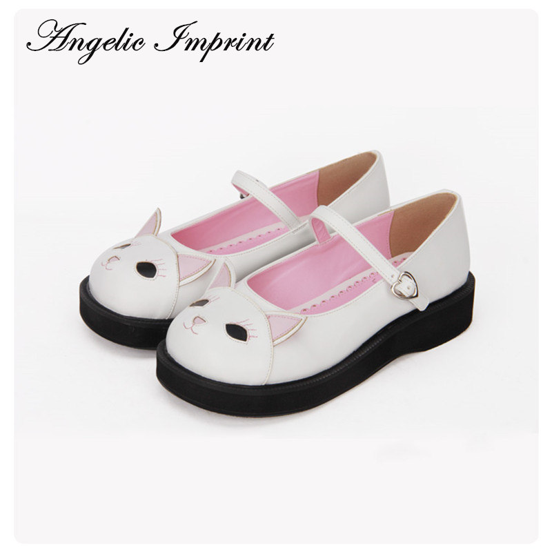 Japanese Sweet Lolita Shoes Kawaii Kitty Round Toe Mary Jane Shoes for Girls feron 25760