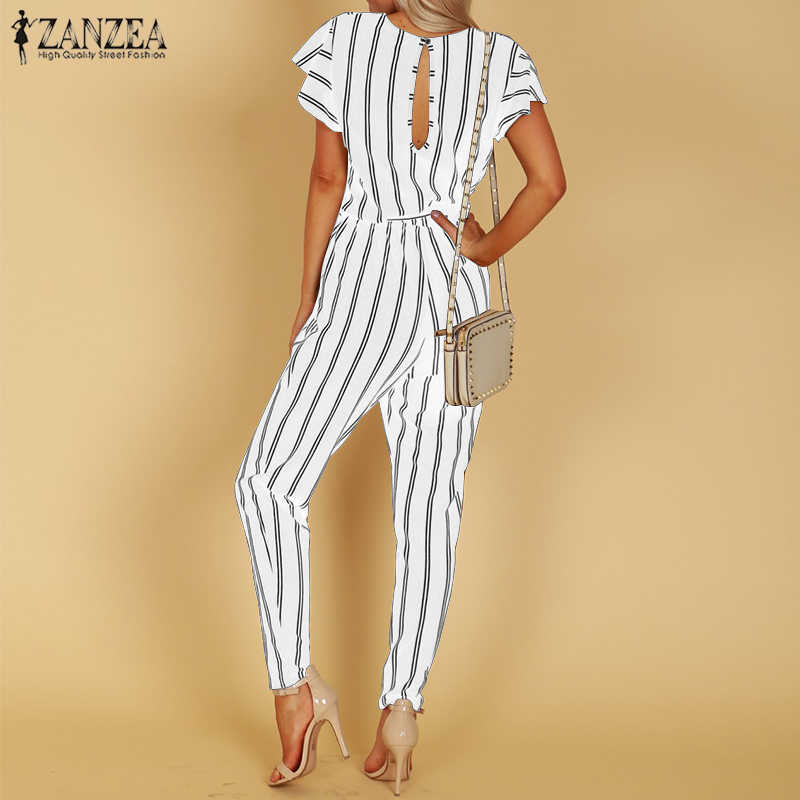 3dbd288505f ... ZANZEA 2018 Striped Jumpsuit Women Hight Waist Casual Trousers Ladies  Sexy V Neck Belted Bodysuit Workwear ...