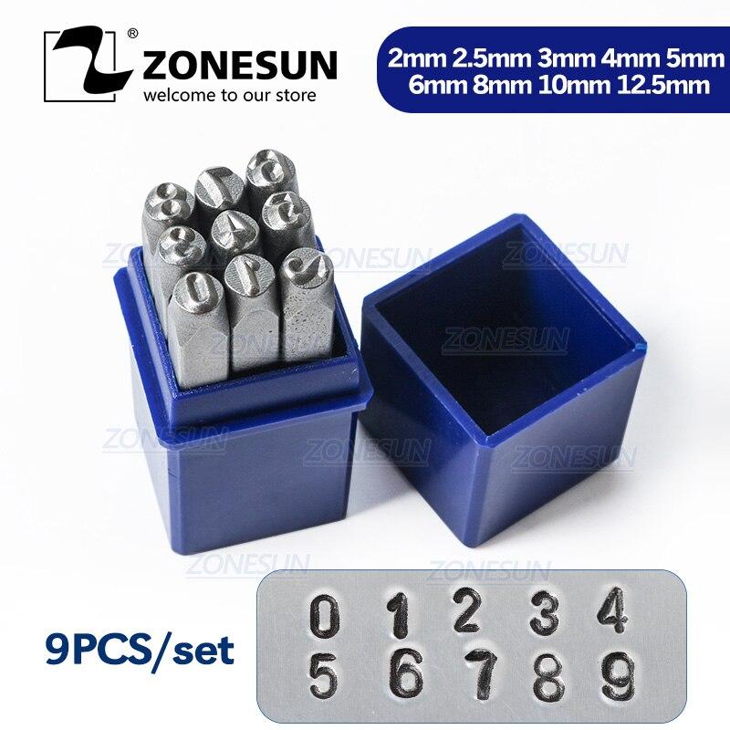ZONESUN 9 шт. антикварные оловянные цифры из углеродистой стали прямоугольный перфоратор для штамповки металла 65 мм (2 4/8 дюйма) x 11 мм, 1 комплект