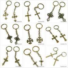 Antique Bronze Tone Keychain Keyring Keytag Latin Cross แหวนดอกไม้พระเจ้า Sun (China)