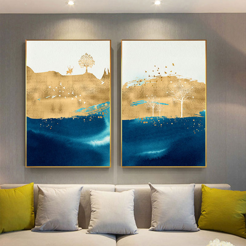 Abstrait Or Bloc Toile Art Peinture Bleu Orange Grandes Affiches Imprime Moderne Mur Art Salon Allee Decor Tableaux Salon Aliexpress