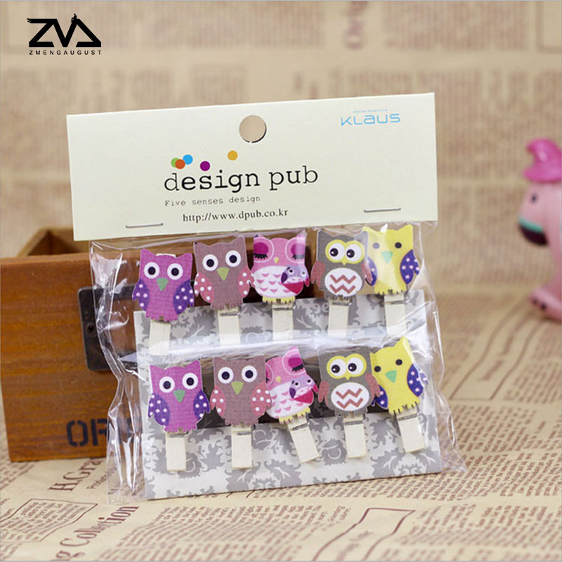 10 Pcs/pack Creative Cartoon Owl Wooden Clip Photo Paper Craft DIY Clips Clothespin Craft Clips Party Decoration Free Shipping