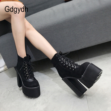 Gdgydh Wholesale 2019 Black Ladies Boots Heel Spring Women Autumn Shoes Outerwea