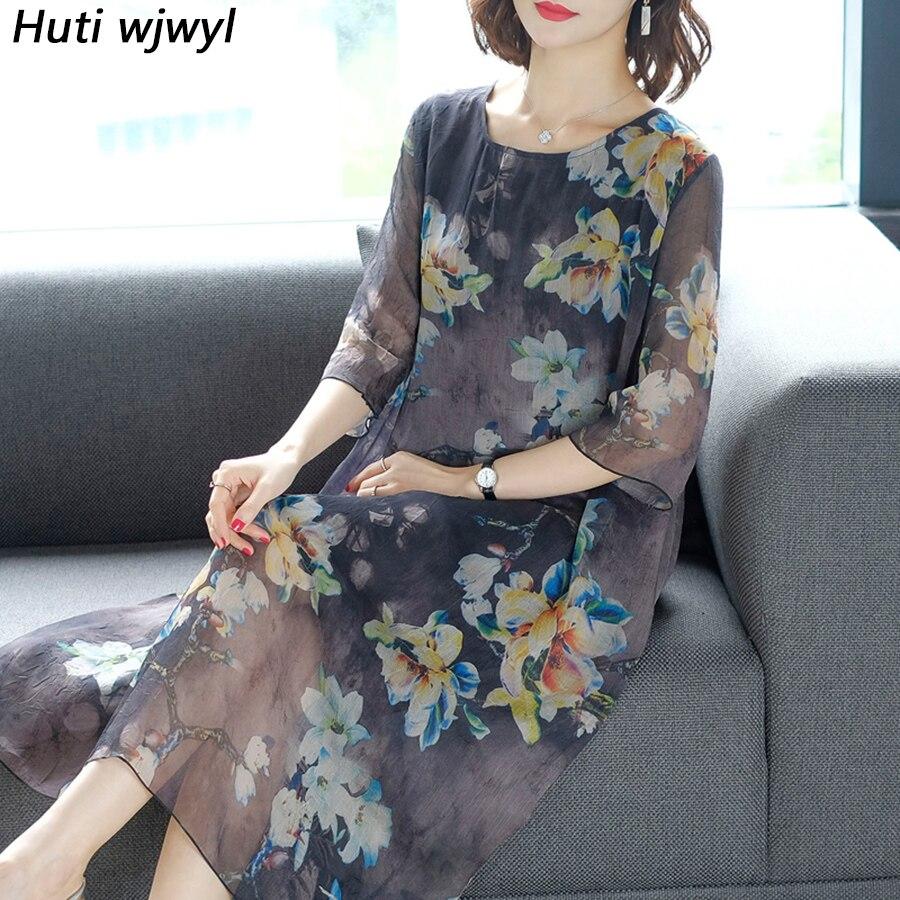 2019 Vintage Floral 5XL Plus Size Boho Midi Dresses Summer Voile Print Chiffon Beach Maxi Sundress Elegant Women Party Vestidos