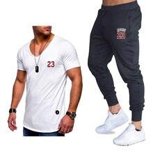 size 40 18ea0 ecead Men Sportswear Tracksuit Sweatpants Trousers Gyms Set Jordan 23 Men s Sets  Joggers Pants+T Shirts