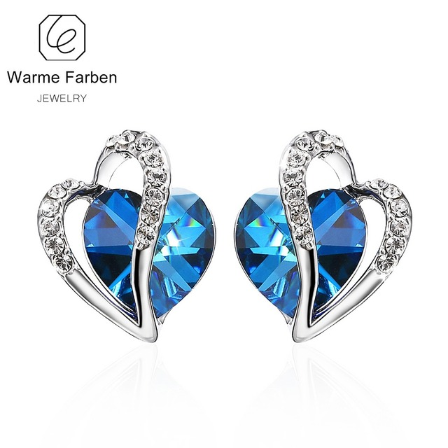 Warme Farben Crystal From Swarovski Earrings For Women Blue Heart Stud Earring Fine Jewelry 925