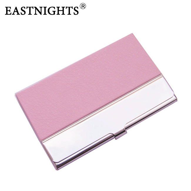 whole sale 10pcs/lot Stainless Steel + PU leather Name Card Case Card Holder Business Card Hold , can make logo NMS013