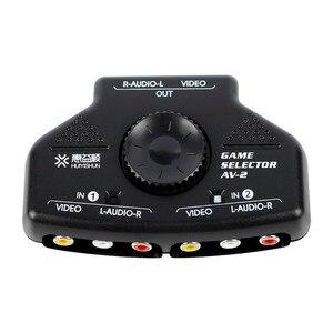 2 Way Splitter AV RCA Audio Video Switcher Game Selector Box w/3 Cable for XBox PS2 #50702 AV-2