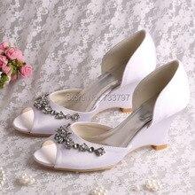 Wedopus Пользовательские Ручной Весна Дамы Свадебная Обувь Свадебная White Satin Клин Пятки Челнока