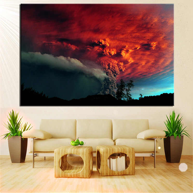 No Frame Hue Chile Erupting Volcano Modern Wall Art Oil Painting Print On Canvas For Home Decoration Free Shipping