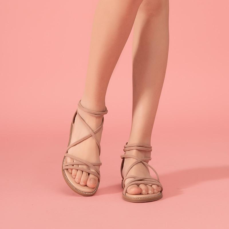 Image 2 - BeauToday Flat Sandals Women Kid Suede Leather Zipper Closure  Cross Tied Cover Heel Ladies Summer Beach Shoes 33008Low Heels   -