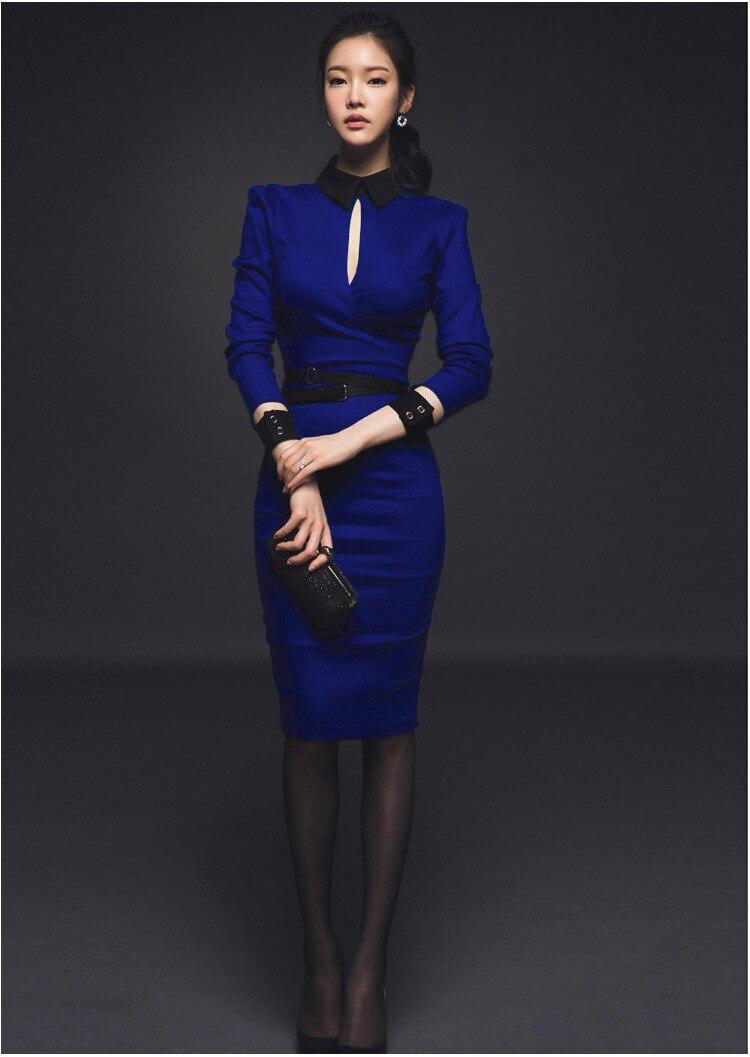 Slim Cultiver Manches Hit Coréenne Tempérament Carrière À Bleu Paquet Robe Couleur Hanche Longues Aristocratique gYb7fy6