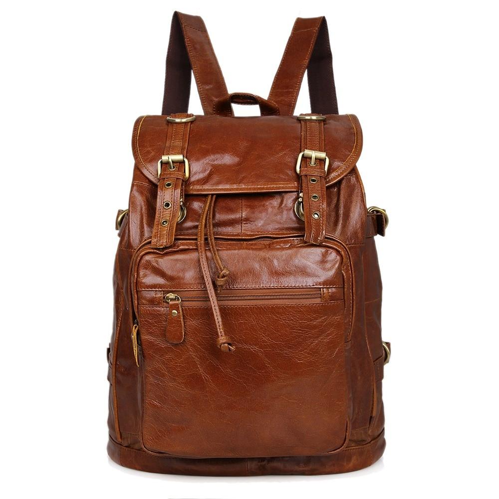 JMD Genuine Leather Unisex Laptop Backpack Vintage Preppy Style Applied Style Satchel Bag 6085B
