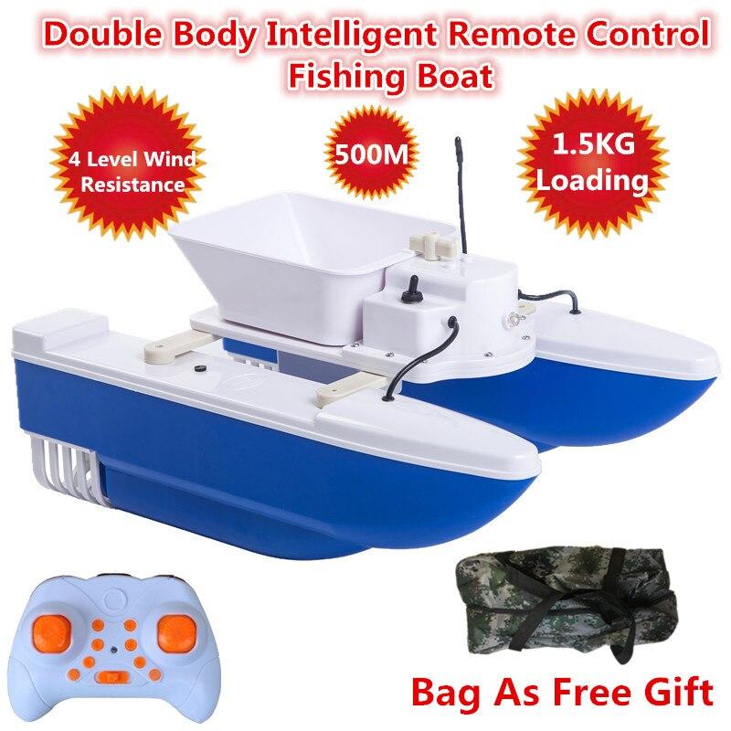 Sac gratuit sans fil contrôle Double corps rapide RC appât bateau bateau 500m 1.5kg chargement alimentation crochet Double coque pliante pêche appât bateau