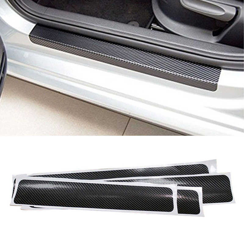 4D Auto uniwersalny z włókna węglowego uszczelka do drzwi samochodu Scuff Anti-Scratch Protector naklejka próg Anti-kick naklejki wnętrze akcesoria
