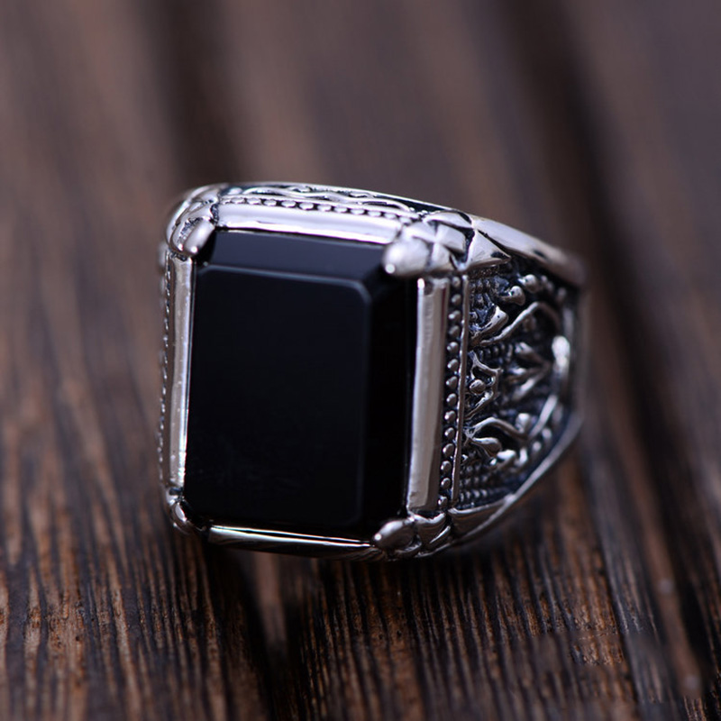 Pure 925 Sterling Silver Black Synthetic Onyx Ring For Men Female Engraved Flower Men Fashion Sterling Thai Silver Jewelry Gifts