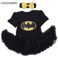 Batman BEBE Christmas Costumes For Kids Black Lace Romper Dress Headband 2pcs Baby Girl Clothes Set