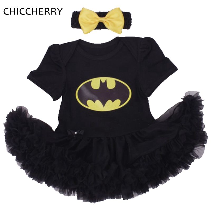 Batman BEBE Christmas Costumes For Kids Black Lace Romper Dress + Headband 2pcs Baby Girl Clothes Set Toddler Infant Clothing baby girl clothing sets christmas set lace tutu romper dress jumpersuit headband shoes 3pcs set bebe first birthday costumes