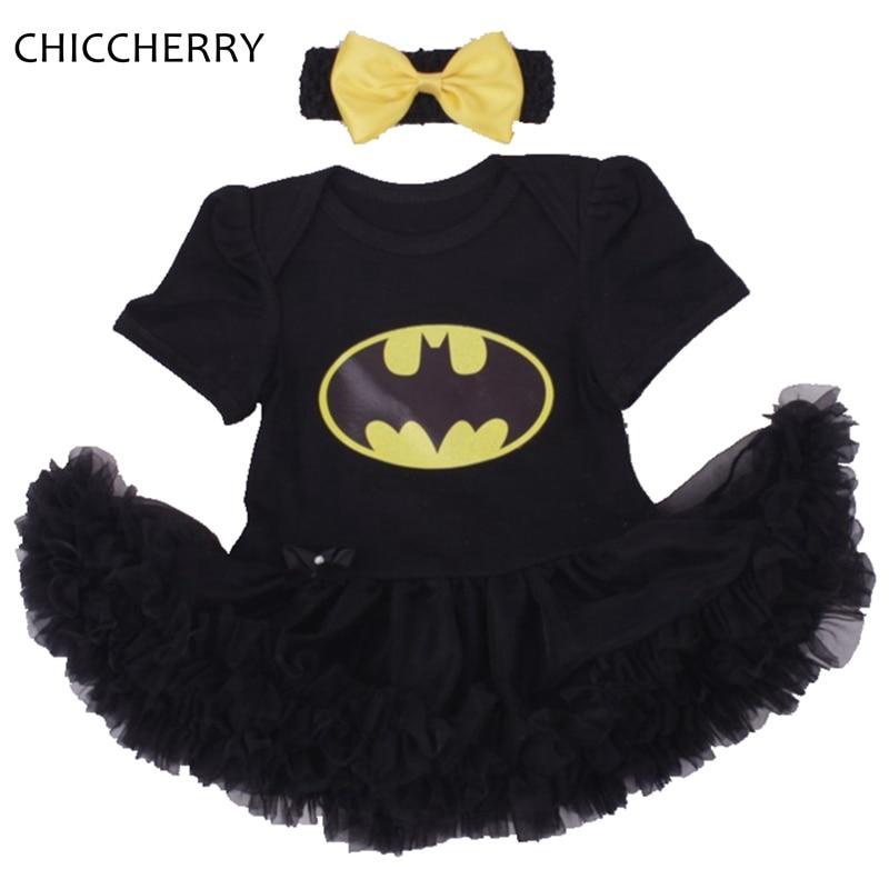 Batman BEBE Christmas Costumes For Kids Black Lace Romper Dress + Headband 2pcs Baby Girl Clothes Set Toddler Infant Clothing