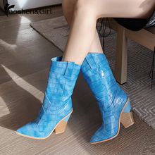 Haoshen&Girl Mid Calf Boots For Women Snake Print Square Heel Sock 2020 Sexy White Female Size 34-46