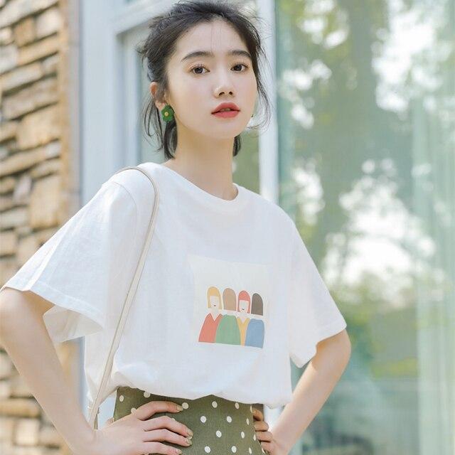 Harajuku kawaii estilo coreano roupas femininas verão 2019 moda doce retro amigos impressão personagem de desenho animado camisa branca de t mulheres