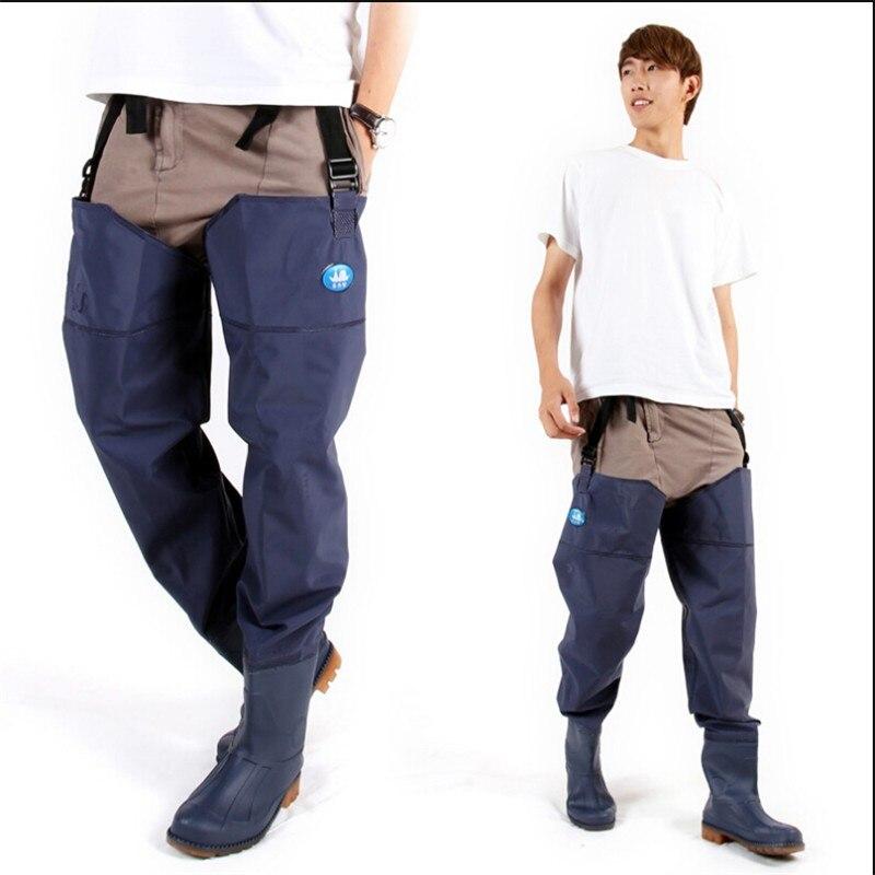 Man Women Fishing Pants Waders Blue Pvc Material Neoprene
