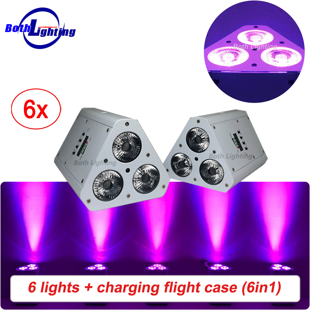 New Product Triangle Mini Battery Power LED Wireless Uplights RGBWA UV 6IN1 3x18W IRC Remote LED Wedding Stage Par Light