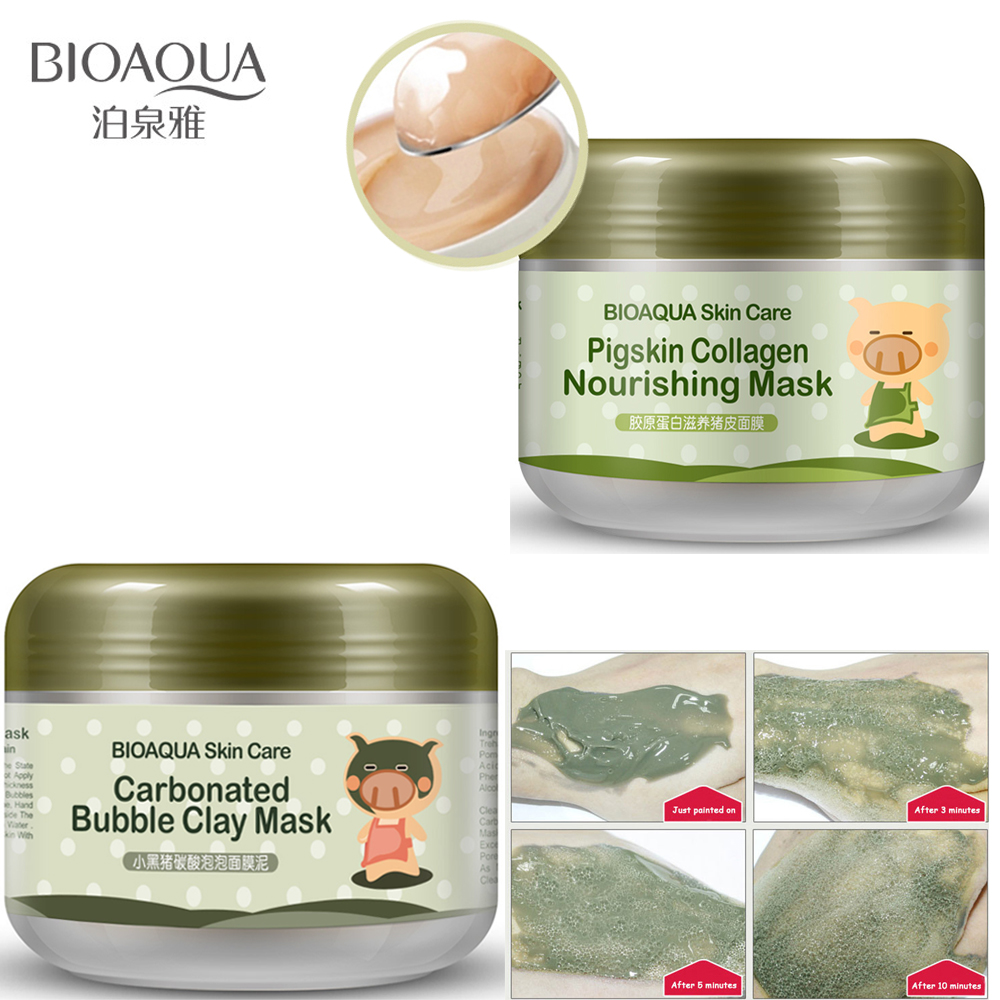 Genteel Bioaqua Pigskin Collagen Nourishing Mask Carbonated Bubble Clay Mask Moisturizing Cleansing Blackhead Remover Face Skin Care Set Face