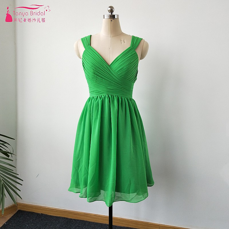 sage green a line knee length chiffon bridesmaid dresses