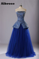 Royal Blue Luxury Crystal Sexy Strapless Evening Dress Real Photo Elegant Evening Dresses Long Party Dresses