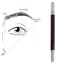 גבות קעקוע ידני עט Microblading אייליינר שפתיים איפור קבוע קעקוע מכונה עץ שיש 10 יחידות עגול מחטי קעקוע כלים